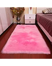 HARESLE Faux Fur Rug Soft Fluffy Rugs Anti-Skid Floor Carpet for Bedroom Living Room Kids Rooms Decor