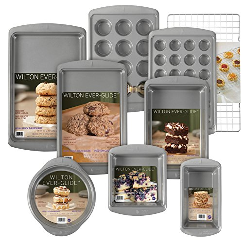 Wilton Ever-Glide Non-Stick Bakeware Set, 9-Piece - Loaf Pan, Oblong pan, 12-Cup Muffin Pan, Round and Square Cake Pans, Large Cookie Pan, Medium Cookie Pan, 24-Cup Mini Muffin Pan, Cooling Grid