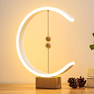 Heng Balance Lamp, Table Lamp Smart Magnetic Suspension Balance Light Creative LED Night Light Table Lamp Fun Birthday Present Contemporary Soft Light Office Modern Home Dorm Bedside (Wood)