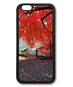 iCustomonline Hillside Red Maple Tree Protective Black Rubber Fits Case for iPhone 6( 4.7 inch)