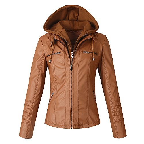 Kangwoo Women's Vintage Faux Leather Moto Jacket With Detachable Hood Tan S by Kangwoo