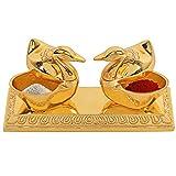 WGF Golden Metal Love Bird Duck with Chandan Roli Chopda Pair for Gift and Pooja Purpose