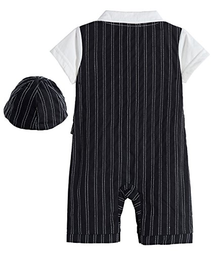 Mombebe Baby Boys' Gentleman Romper Suit Set with Hat and Bow Tie (0-3 Months, Black)