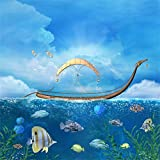 Leowefowa 5X5FT Vinyl Underwater World Backdrop Ocean Fish Sailboat Dove Blue Sky White Cloud Green Grass Aquarium Baby Shower Fantasy Photography Background Boys Girls Birthday Photo Studio Props