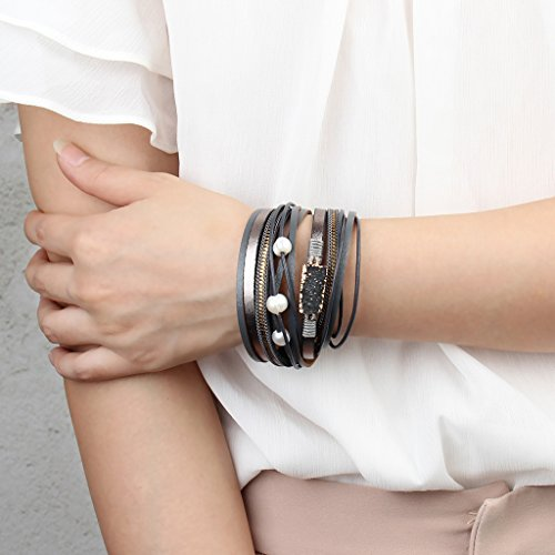 COOLLA Women Genuine Leather Vintage Volcanic Stone Wrap Bangle Bracelet Pearl Pendant Magnet Buckle (Grey) by COOLLA (Image #6)