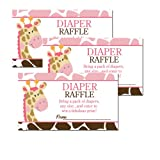 Pink Giraffe with Giraffe Print Baby Shower Diaper Raffle Tickets 20-pack