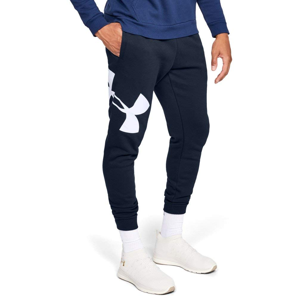 Under Armour Men's Rival Fleece Logo Jogger, Academy (408)/White, Large by Under Armour