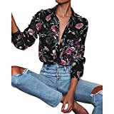 Blouses for Working Women,Womens Long Sleeves V Neck Button up Floral Print Casual Blouse Tops Loose T Shirt Sweatshirt (M, Multicolor)