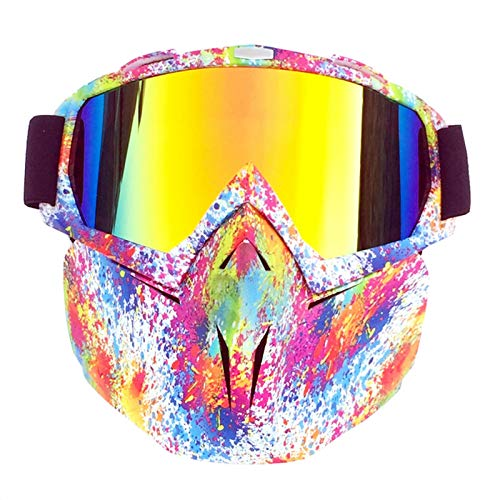 Adisaer Sport Brille durchsichtig Retro face Mirror Goggles Motocross Racing Goggles Flower Red for Mens (Ray Brille)