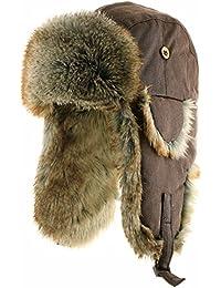 Ushanka Trooper Russian Pilot Aviator Leather Winter Trapper Hat SIZES