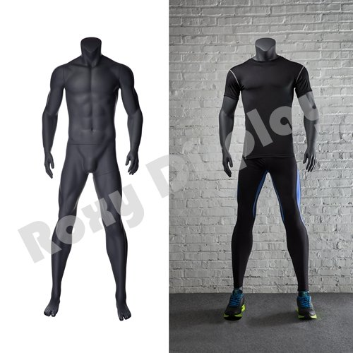 (MZ-NI-2) ROXYDISPLAYTM Eye Catching Male Headless Mannequin, Athletic Style. Standing Pose with Straight -