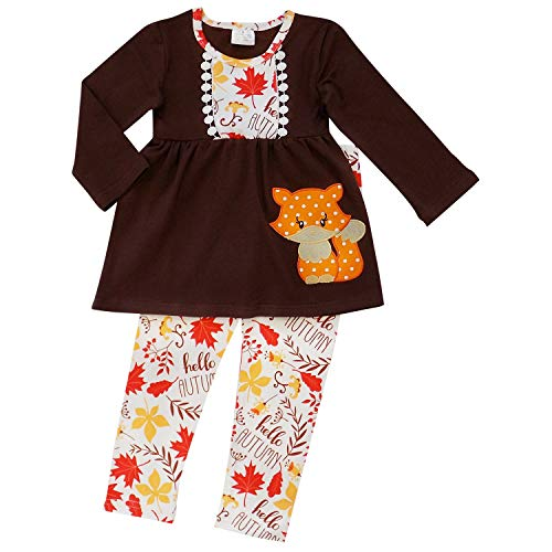 So Sydney Girls Halloween Pumpkin, Candy, or Cat - 2 Piece Ruffle Pants Outfit (XXS (12-18 Months), Fall Fox) -