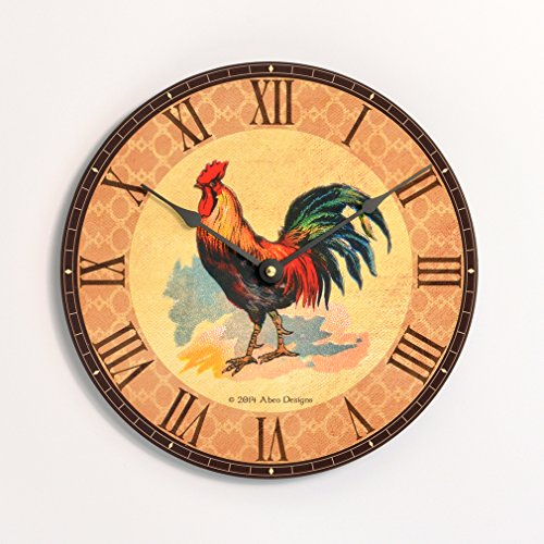 Rooster Design Wall (Vintage French country rooster design 10 inch kitchen wall clock. Colorful rooster tan and brown background.)