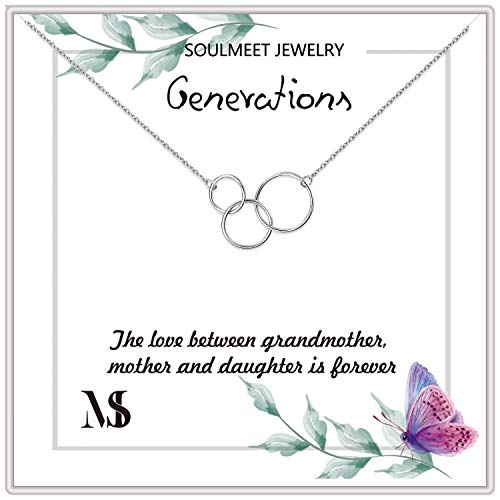 SOULMEET S925 Grandmother Mother Daughter Necklace, Sterling Silver Three Interlocking Infinity Circles Necklace for Bond (Three Circles)