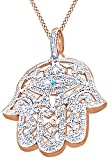 Round Cut Cubic Zirconia Hamsa Hand Hip Hop Pendant in 14k Rose Gold Over Sterling Silver (1.51 Cttw)