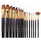 مجموعة فرش طلاء بشعيرات نايلون ومقابض طويلة مع حقيبة قماشية، 15 قطعة، اسود