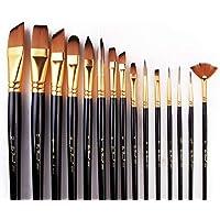 SKEIDO 15 Piece Nylon Hair Long Pole Paint Brush Set With Canvas Bag,Black
