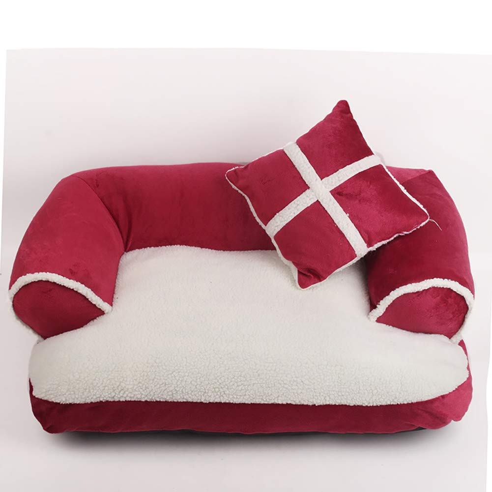 C SmallPet Bed Dog Bed,Orthopedic Plush SofaStyle Couch Pet Bed with Small Pillow,Removable Washable,A,M