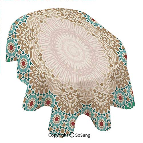 (Moroccan Oval Polyester Tablecloth,Ottoman Mosaic Art Pattern with Oriental Floral Forms Antique Scroll Ceramic Boho Print,Dining Room Kitchen Oval Table Cover, 60 x 102 inches,Multi)