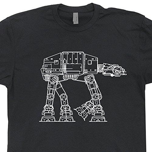 [YOUTH M - At-At AtAt Star Wars T Shirts The Empire Strikes Yoda Chewbacca Back Technical Drawing Jedi Tee Mens Womens Kids] (Cheap Star Wars Shirts)