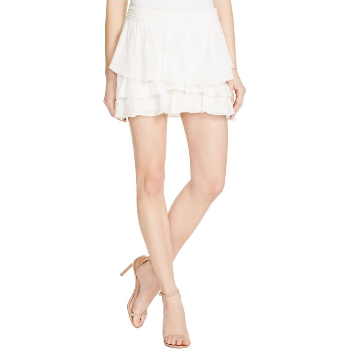 Joie Womens pycnite Silk Blend Tiered Mini Skirt Ivory M