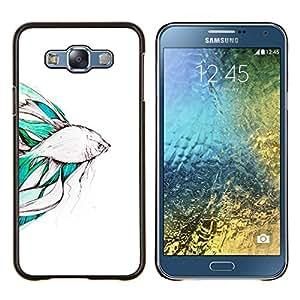 Koi Pond Japón Minimalismo Naturaleza- Metal de aluminio y de plástico duro Caja del teléfono - Negro - Samsung Galaxy E7 / SM-E700