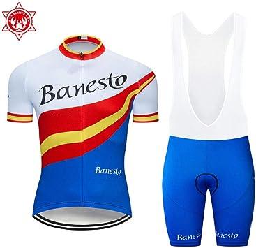 AJSJ Ropa de Bicicleta de Verano Maillot MTB Ropa de Bicicleta Ropa Deportiva Traje Ciclismo 2019 Banesto Cycling Set: Amazon.es: Deportes y aire libre