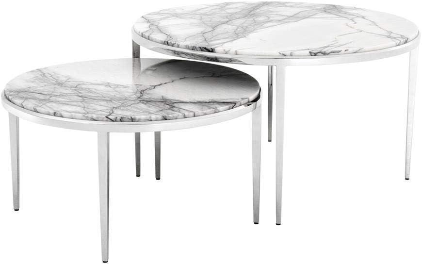 Amazon Com White Marble Nesting Coffee Table Eichholtz Fredo