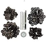 CrazyEve Leathercraft Gunmetal Copper Press Studs Snap Fasteners Poppers Sewing Clothing Snaps Button 40 pcs With Fixing Tool (831(15mm))