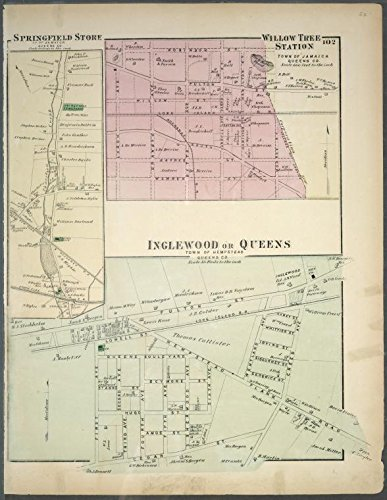 Historic 1873 Map   Springfield Store. Tn. of Jamaica, Queens Co. - Willow Tree Stat   Antique Vintage Map Reproduction