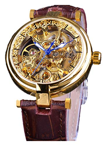 Skeleton Automatic Steampunk Watches Gold-Tone Luminous Hands Leather Strap Wrist-Watch (Gold)