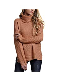 Belgius Chunky Turtleneck Sweater Women Winter Warm Knit Solid Color Pullover Sweater
