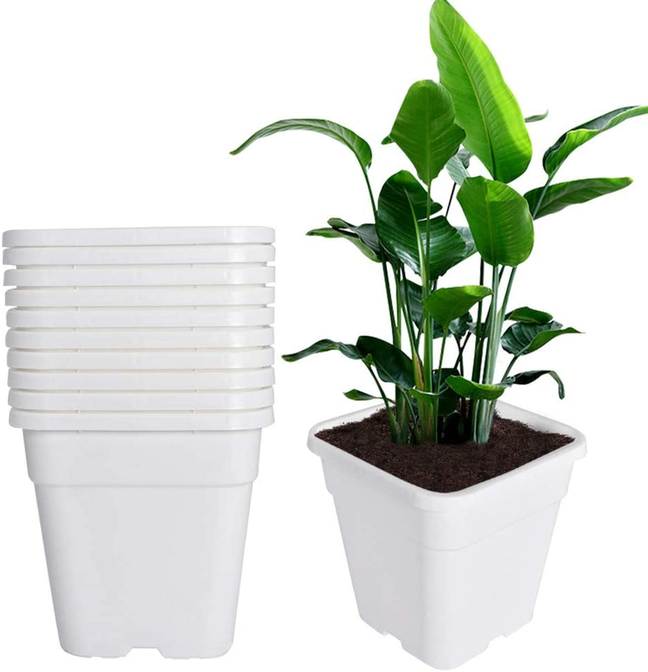 Plant Nursery Pot 10-Pack 5 Gallon Square Plastic Garden Planter Pots Flower Seedling Injection Molded Container Seed Starting Pot Set for Indoor Outdoor Plants Seedlings Flowers Vegetables White