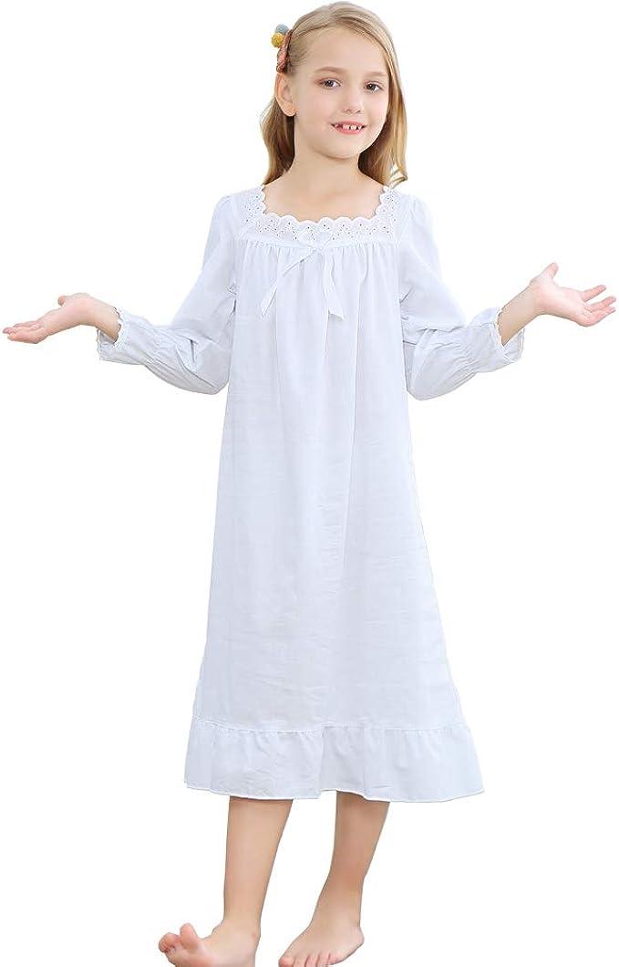 Niña Manga Larga Pijama de Algodón de Vestido de Noche Camisones para Niñas Blanco, 90-150 Cm: Amazon.es: Ropa y accesorios