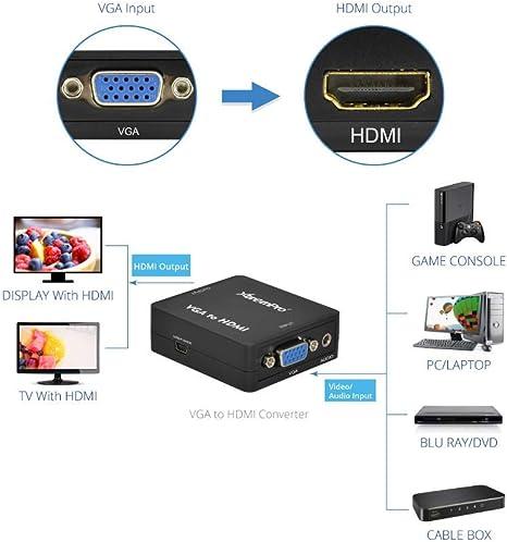 XtremPro - Adaptador conversor VGA a HDMI 1800 p Full HD Mini VGA a HDMI Audio Video