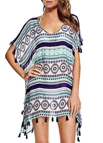 Ls Lady Women's Fashion Swimwear Crochet Tunic Cover Up / Beach Dress (One Size, Blue)