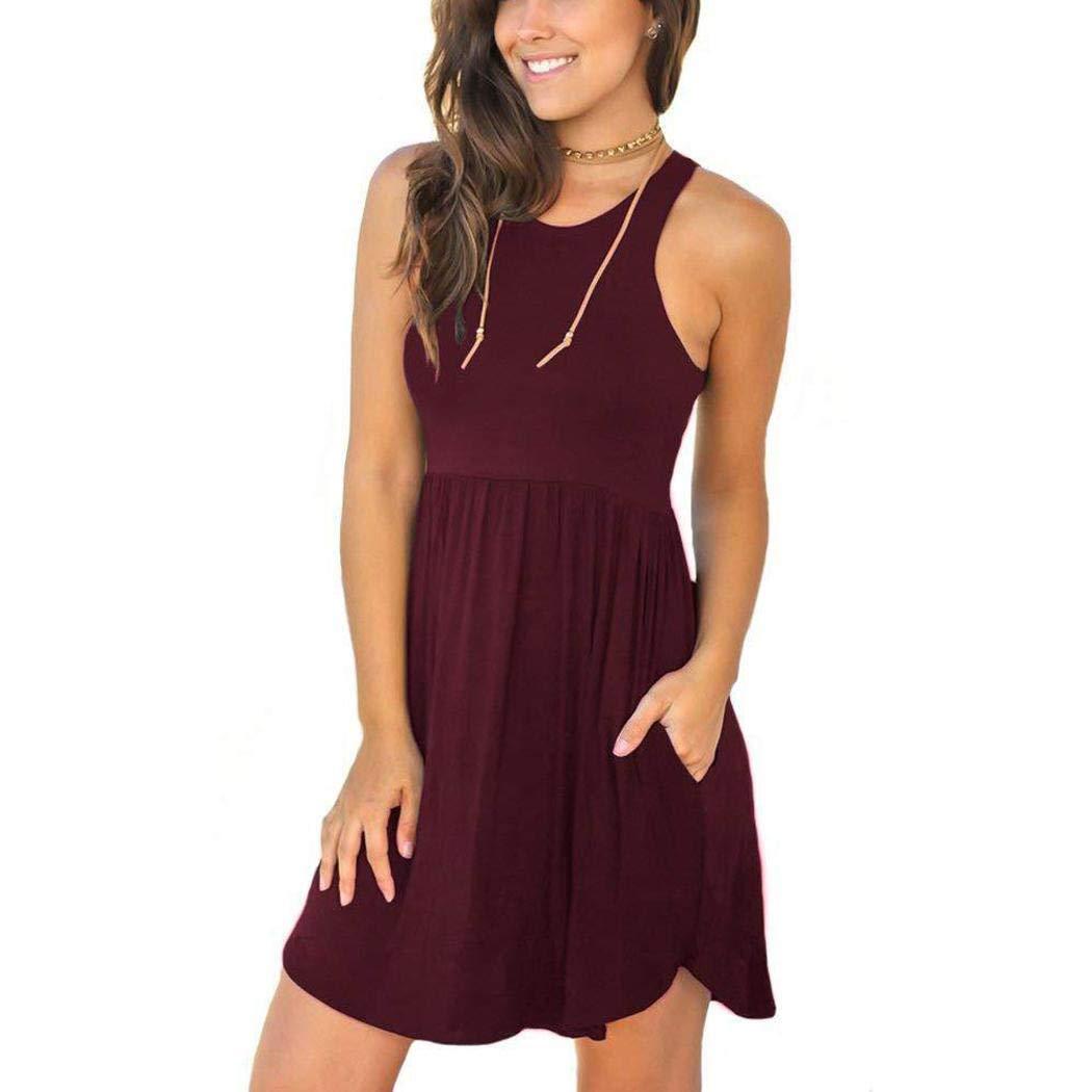 Ladiy Women Fashion Round Neck Sleeveless Solid Pocket Dresses