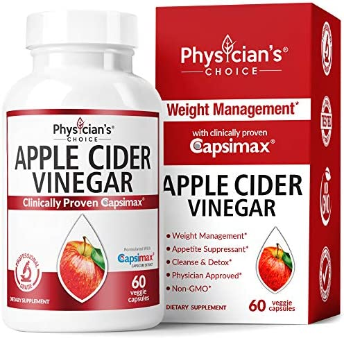Apple Cider Vinegar Capsules for Weight Loss Support (Award Winning Capsimax Formula), Fat Burners for Women & Men, Promotes Appetite Management, Metabolism Booster, Organic, Non-GMO, 60 Pills 1