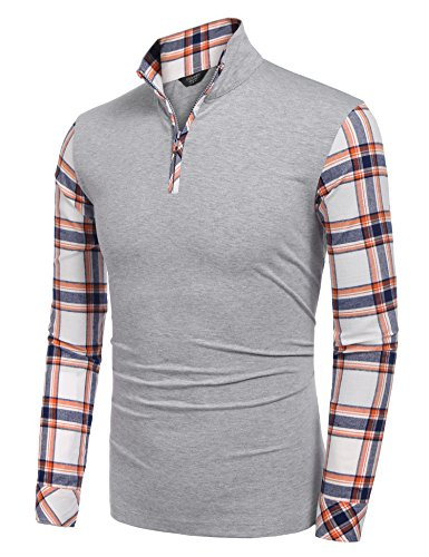 Coofandy Men's Casual Long Sleeve Plaid Shirt Zipper Polo Shirts,Large,Grey by COOFANDY (Image #3)