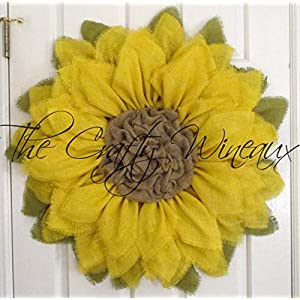 "Extra Large 30"" Bright Yellow Burlap Sunflower Wreath by The Crafty WineauxTM 79"