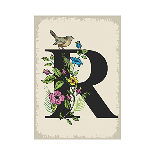 BoloHome Bird on Monogram R with Floral Garden Flag Double Side Outdoor Banner 28 x 40 inch, Vintage Flower Letter R Decorative Large House Flags for Party Yard Home Decor, 100% Polyester