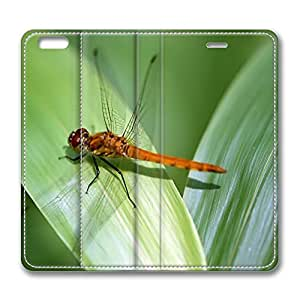 iPhone 6 Plus 5.5inch Leather Case, Orange Dragonfly Luxury Protective Slim Fit Skin Cover For Iphone 6 Plus [Stand Feature] Flip Leather Case Cover for New iPhone 6 Plus
