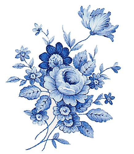 "Saxony Blue Flower Spray 6462 B Waterslide Ceramic Decals By The Sheet (3"" X 2"" 28 pcs)"