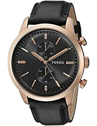 Men's FS5097 Townsman Chronograph Rose Gold-Tone Stainless Steel Watch with Black Leather Band