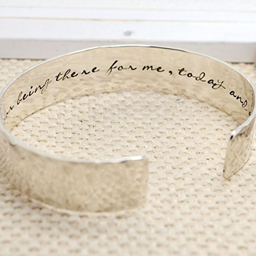 Personalized Cuff Bracelet - Custom Hidden Message - Sterling Silver 1/2 in Wide - Gift for Mom