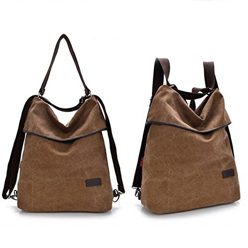 JOSEKO Canvas Rucksack, Women Canvas Casual Multifunctional Microfiber Leather Large Capacity Handbag Shoulder Bags Backpack Khaki 12.99