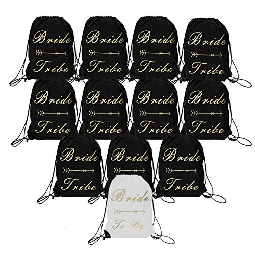 12 Pack Bride and Bride Tribe Drawstring Bags Bridal Party Favor Bags Bachelorette Party Backpacks for Wedding Bridesmaid Gift Bag Hen