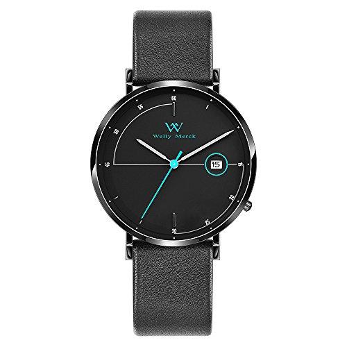 Welly Merck Men's Watch Swiss Quartz Movement Luxury Minimalist Watch Blue Hand Date Display 20mm Black Width Leather Interchangeable Strap, 5 ATM Water Resistant