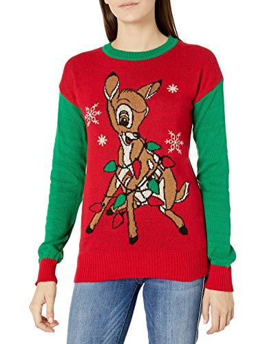 Disney Women's Ugly Christmas Sweater, Bambi/Green, Large