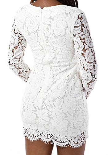 White Womens Lace Bodycon Up Dresses Mini Casual Long Club Cromoncent Sleeve RxwF6Bvv